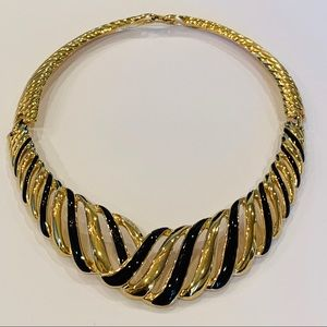 Trifari tribal black gold collar choker vintage